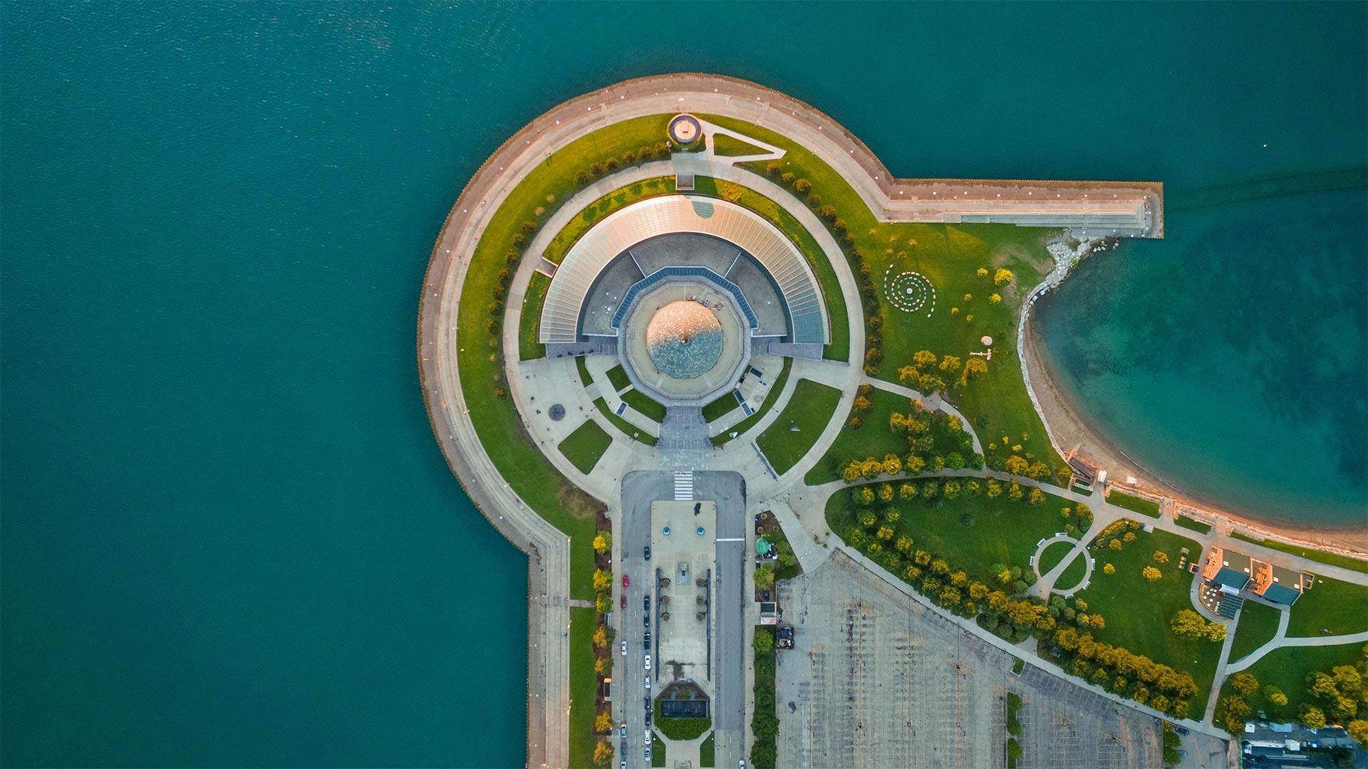 Adler Planetarium, Chicago, Illinois, USA (? Amazing Aerial Agency/Offset by Shutterstock)