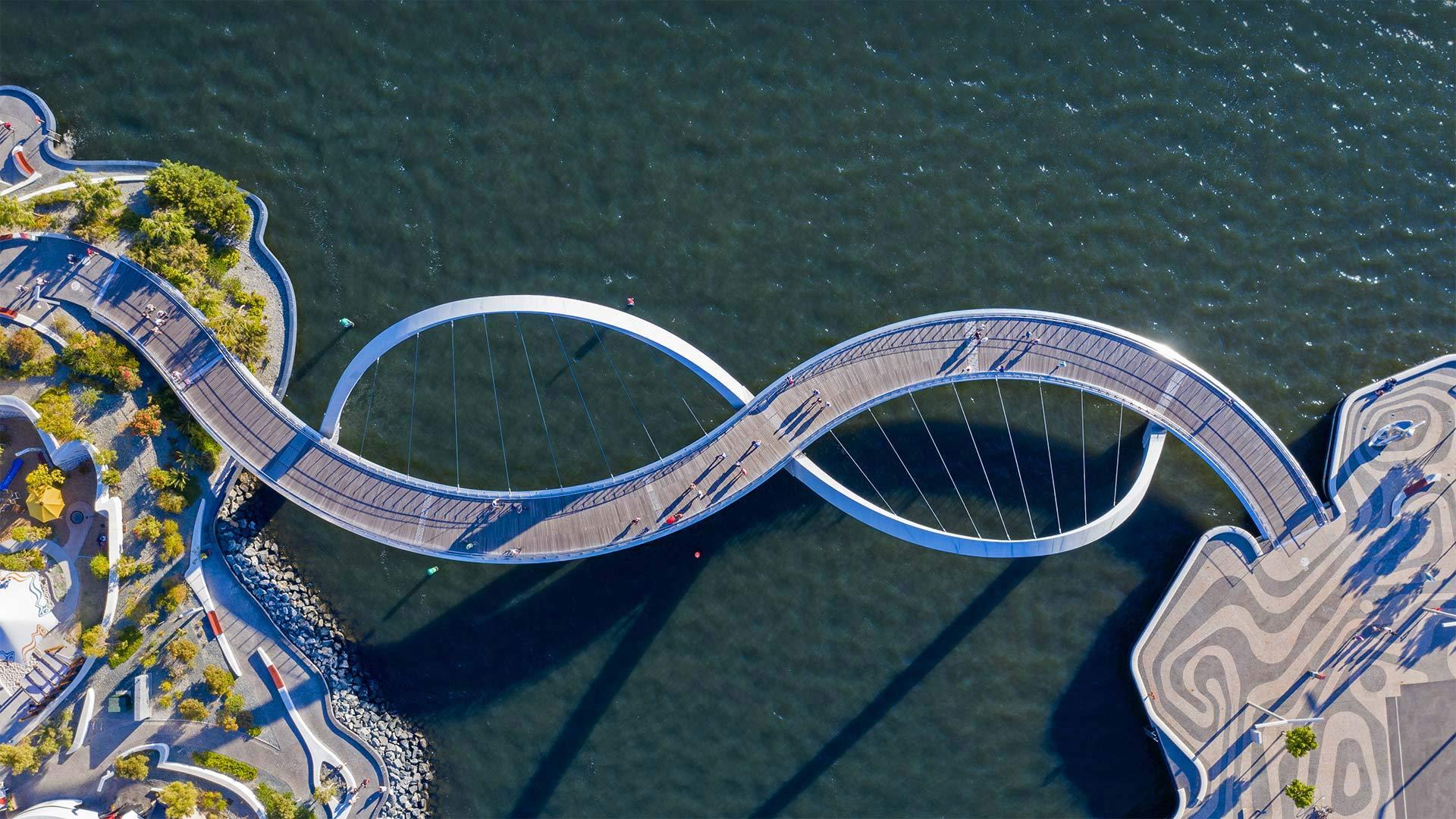 Elizabeth Quay Bridge, Perth, Australia (? Amazing Aerial Agency/Offset by Shutterstock)