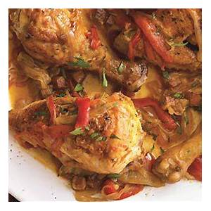 chicken-with-bell-peppers-smoked-ham-and-paprika image