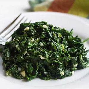 blanched-spinach-salad-with-lemon-garlic-sauce image