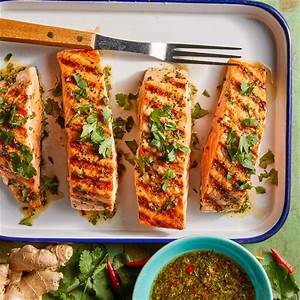 grilled-salmon-with-cilantro-ginger-sauce image
