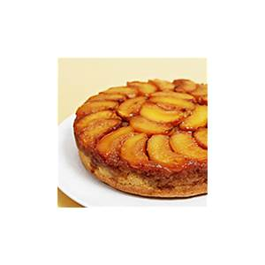 peach-upside-down-cake-with-cognac-caramel-food-style image