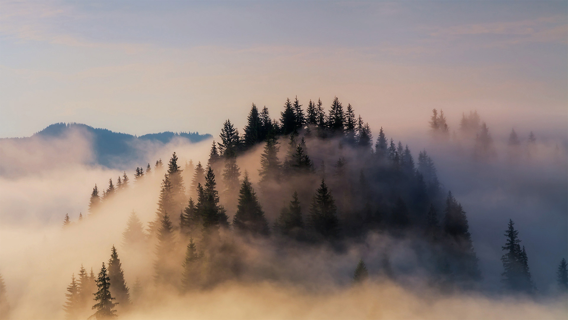 Fog shrouds the Bavarian Alps in Germany (© Anton Petrus/Getty Images)
