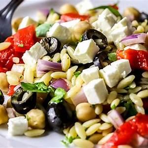 orzo-salad-with-roasted-pepper-black-olives-feta image
