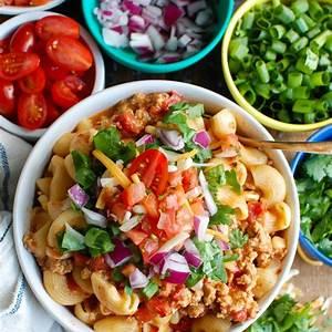 instant-pot-turkey-taco-pasta-a-cedar-spoon image