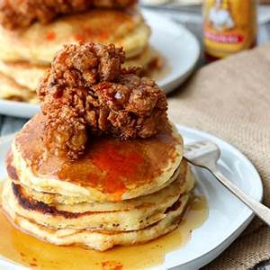 buttermilk-fried-chicken-and-cornmeal-pancakes-dash-of image
