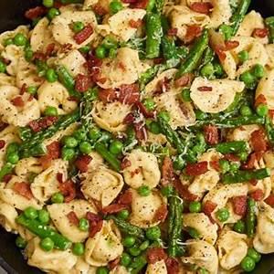 tortellini-with-asparagus-peas-crispy-bacon image
