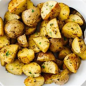 garlic-herb-roasted-potatoes-downshiftology image