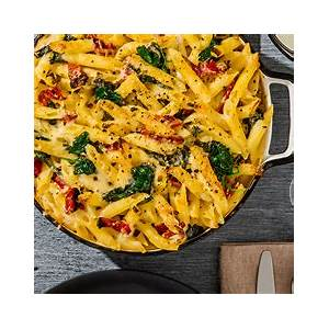 recipes-baked-penne-with-spinach-and-sun-dried-tomatoes image