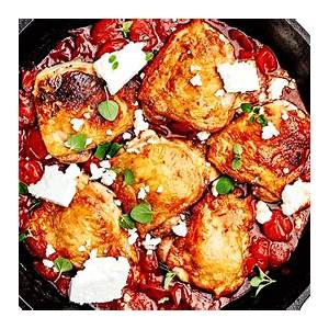 chicken-thighs-with-burst-tomatoes-harissa-and-feta image