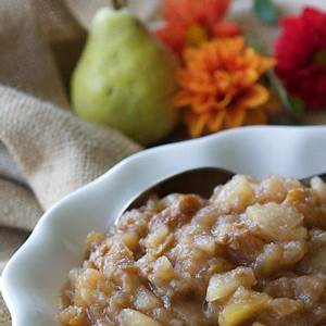 crockpot-pear-applesauce-recipe-with-ginger-slow-cooker image