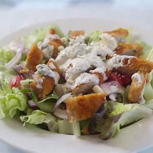 elegant-buffalo-breaded-chicken-salad-with-blue-cheese image