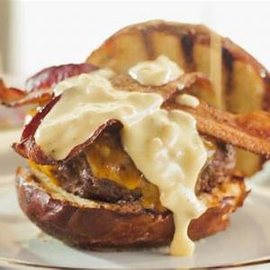 butter-burger-with-beer-cheese-sauce-and-bacon image
