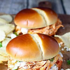 shredded-buffalo-chicken-sandwiches-slow-cooker image