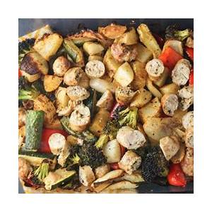 one-pan-sausage-potato-and-vegetable-bake-slender-kitchen image