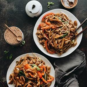 15-minute-chicken-chow-fun-chicken-fried-rice-noodles image