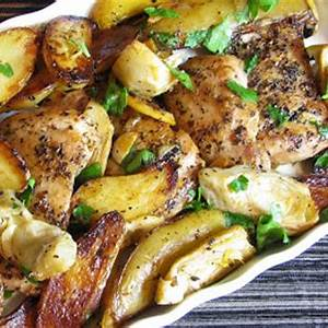 roast-chicken-thighs-with-potatoes-artichokes-and-lemon image