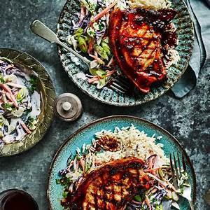 coffee-and-chipotle-pork-chops-with-slaw-sainsburys image