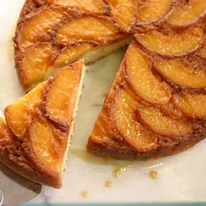 caramel-peach-upside-down-cake-recipe-food-network image