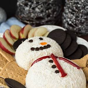 snowman-white-chocolate-toffee-cheese-ball-for-christmas image