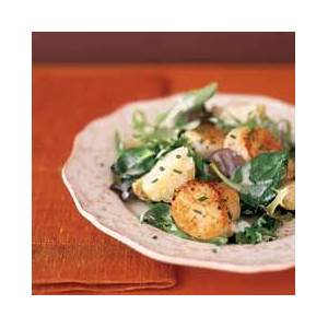 seared-scallops-with-new-potatoes-and-field-greens image