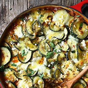 one-pan-zucchini-and-eggplant-orzo-bake-serving image