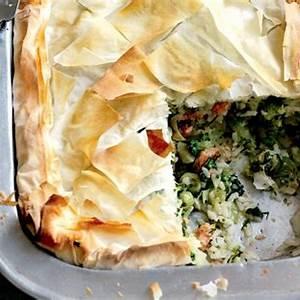 salmon-leek-rice-and-broccoli-filo-pie-healthy-food image