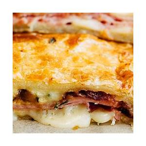 ham-and-cheese-puff-pastry-slab-pie-striped-spatula image
