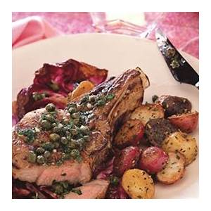 grilled-veal-chops-and-radicchio-with-lemon-caper-sauce image