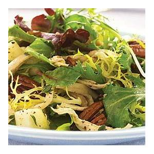 baby-greens-with-chicken-dried-cherries-pears-pecans image