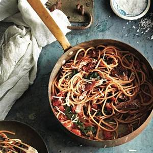 duck-confit-and-chard-in-spaghetti-pasta-chatelaine image