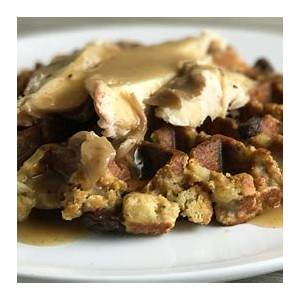 quick-and-easy-leftover-stuffing-waffles-with-turkey-and-gravy image