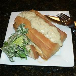 salmon-crab-stuffed-phyllo-pastry-with-bchamel image