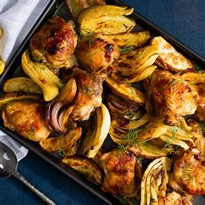 sheet-pan-roast-chicken-thighs-with-fennel-and-potatoes image