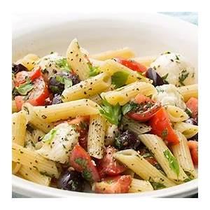 penne-with-baby-mozzarella-tomatoes-and-herbs image
