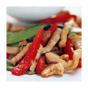 spicy-pork-and-cashew-stir-fry-with-snow-peas-and-red-pepper image