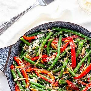 sauteed-green-beans-with-red-peppers-almonds image