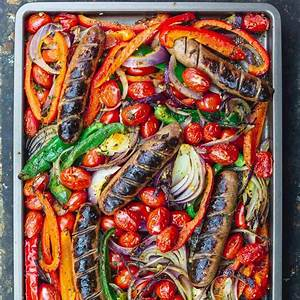baked-sausage-and-peppers-sheet-pan-the image