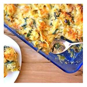 savory-bread-pudding-with-spinach-leeks-and-mushrooms image