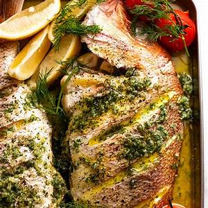 whole-baked-fish-snapper-with-garlic-dill-butter-sauce image