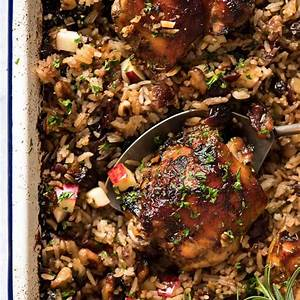 oven-baked-chicken-and-rice-pilaf-cranberry-walnut image