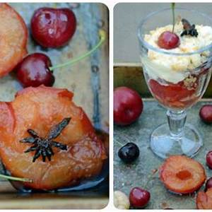 pimms-and-star-anise-stewed-fruits-with-amaretti-biscuits image