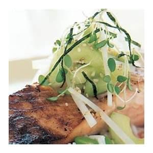 miso-marinated-salmon-with-cucumber-daikon-relish image