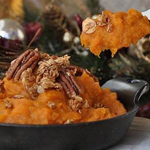 mashed-sweet-potatoes-with-bourbon-molasses-and-pecans image