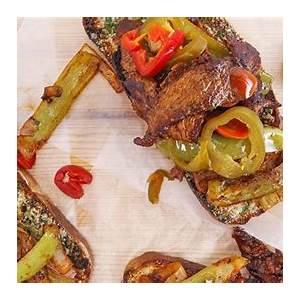 rachaels-italian-pepper-steak-on-garlic-toast-rachael image
