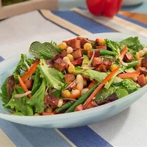 fresh-bean-salad-with-roasted-chickpeas-crispy-mortadella image