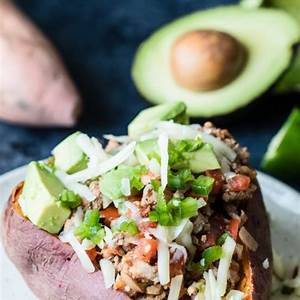 ground-turkey-dinner-avocado-turkey-stuffed-sweet-potato image