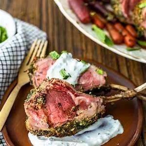 herb-crusted-rack-of-lamb-recipe-with-mint-yogurt-sauce image