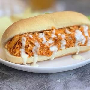 easy-crockpot-shredded-buffalo-chicken-sandwiches image