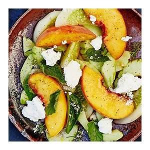 cucumber-and-peach-salad-with-herbs-recipe-bon-apptit image